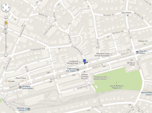 Google Map to Longwood Dental Group Brookline MA