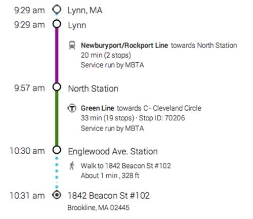 Directions from Lynn MA to Brookline MA